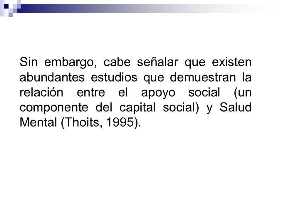 Sin embargo, cabe señalar que existen abundantes estudios que demuestran la relación entre el apoyo social (un componente del capital social) y Salud Mental (Thoits, 1995).