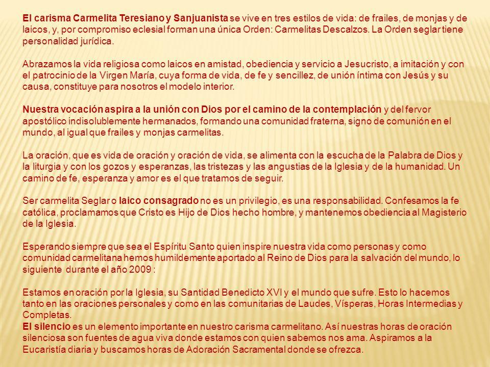 El carisma Carmelita Teresiano y Sanjuanista se vive en tres estilos de vida: de frailes, de monjas y de laicos, y, por compromiso eclesial forman una