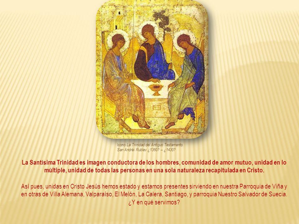 Icono La Trinidad del Antiguo Testamento. San Andréi Rublev ¿1360? – ¿1430? La Santísima Trinidad es imagen conductora de los hombres, comunidad de am
