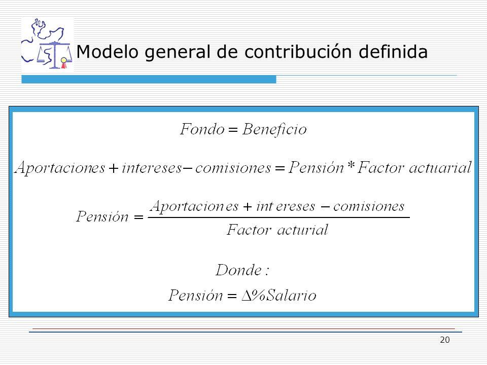20 Modelo general de contribución definida