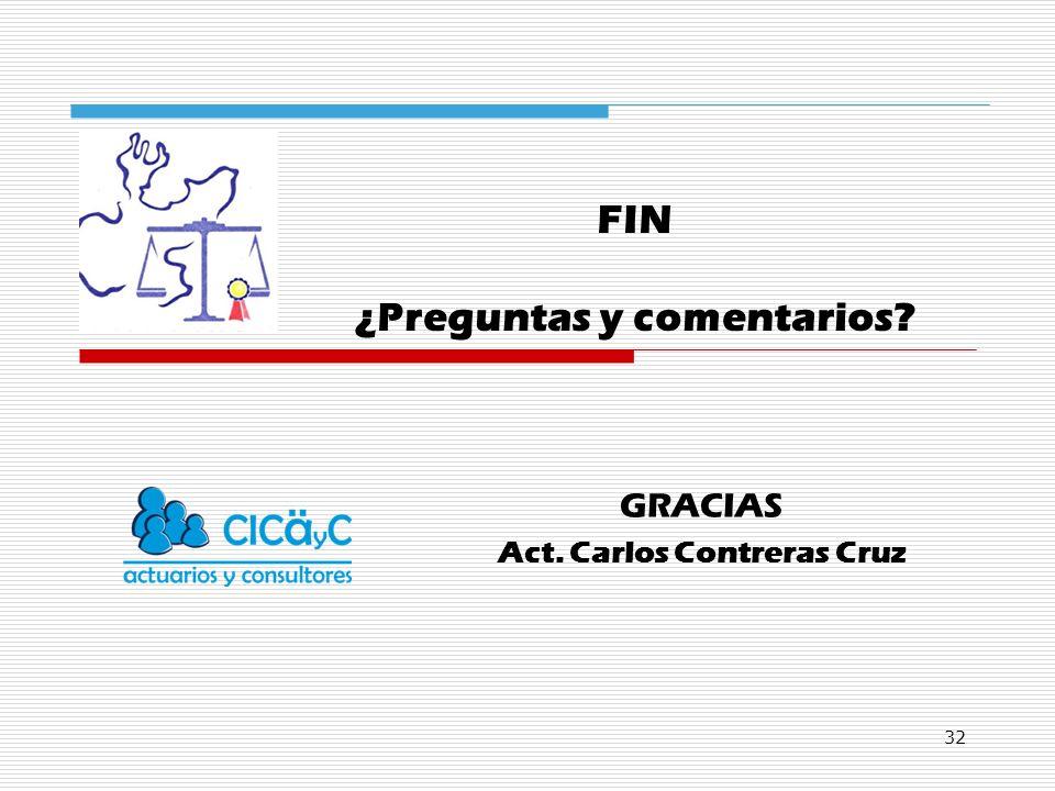 32 GRACIAS Act. Carlos Contreras Cruz FIN ¿Preguntas y comentarios?
