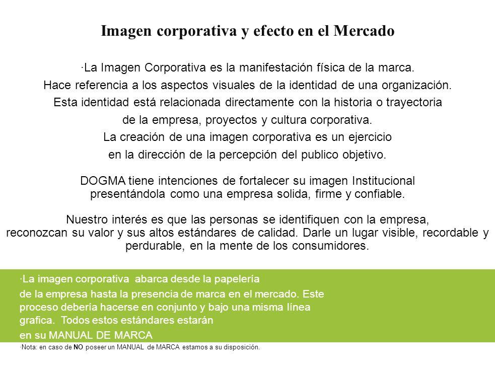 Imagen corporativa y efecto en el Mercado ·La Imagen Corporativa es la manifestación física de la marca. Hace referencia a los aspectos visuales de la
