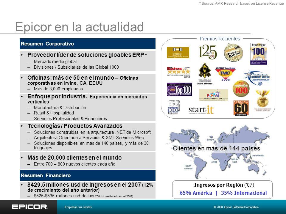 Epicor en la actualidad Proveedor líder de soluciones gloables ERP * –Mercado medio global –Divisiones / Subsidiarias de las Global 1000 Resumen Corpo