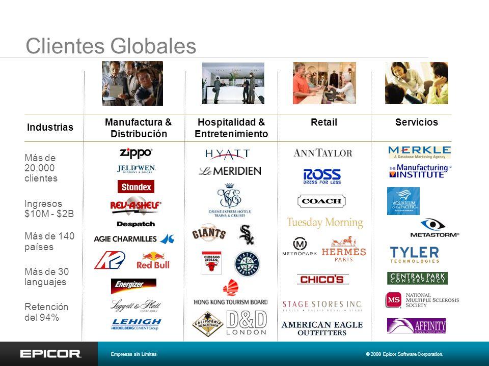 Manufactura & Distribución Hospitalidad & Entretenimiento ServiciosRetail Industrias Clientes Globales Más de 20,000 clientes Ingresos $10M - $2B Más