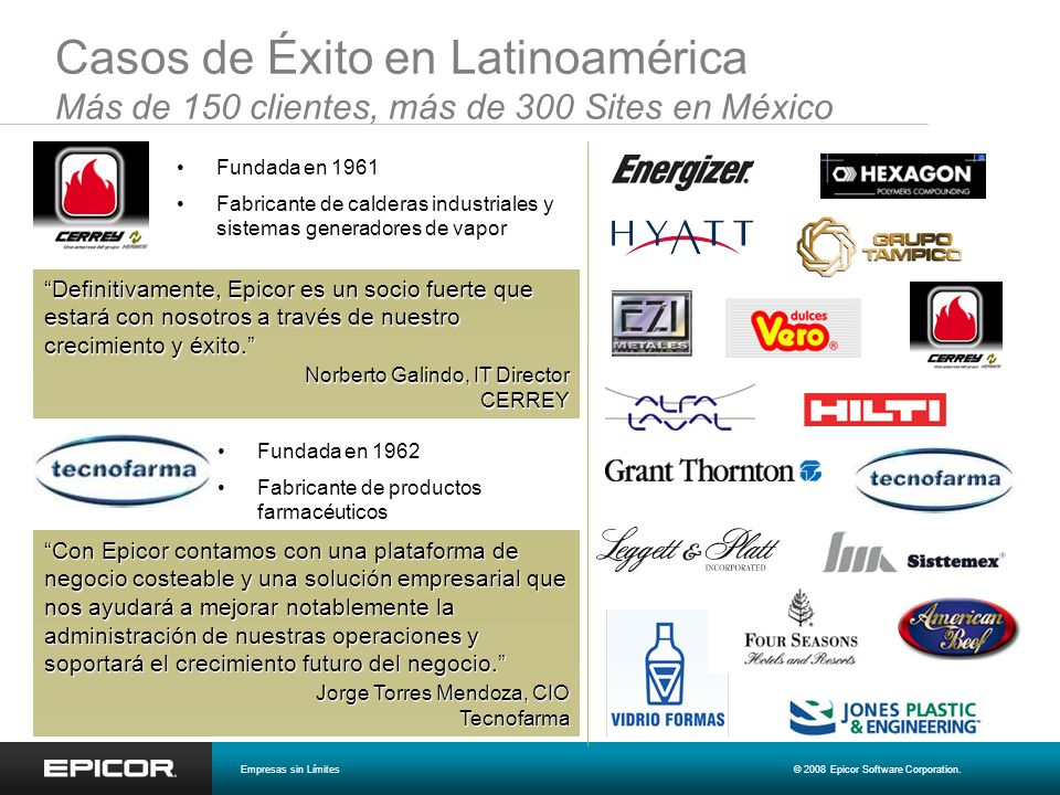 Soluciones enfocadas por Industria Funcionalidad de punta-a-punta Tecnología líder SOA Bajo costo total de propiedad Enfoque vertical, altamente funcional MANUFACTURA DISTRIBUCION SERVICIOS RETAIL & HOSPITALIDAD Empresas sin Límites© 2008 Epicor Software Corporation.