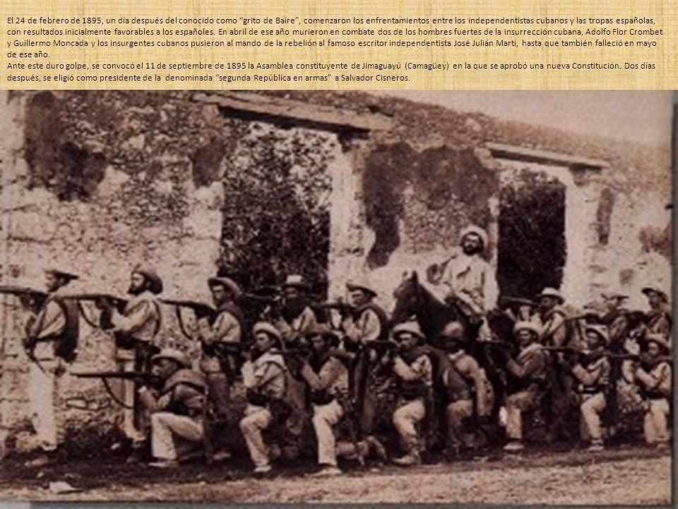 En 1896 el gobierno español sustituye al General Martínez Campos, el hasta entonces capitán general de Cuba, por Valeriano Weyler, que puso en marcha una dura táctica de guerra ya empleada años antes por el conde de Valmaseda: la lucha sin tregua y la represión firme y tenaz.