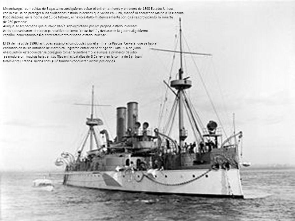 El 3 de julio de 1898 se produjo el famoso combate de Santiago de Cuba, Finalmente, el 10 de diciembre de 1898, tras una larga negociación entre en el que el almirante Cervera, a las órdenes del capitán general Blanco, los españoles y estadounidenses se firmó el Tratado de París que puso fin a la se enfrentó a la escuadra estadounidense, dirigida por el almirante William Guerra Hispano-estadounidense e inició el colonialismo estadounidense.