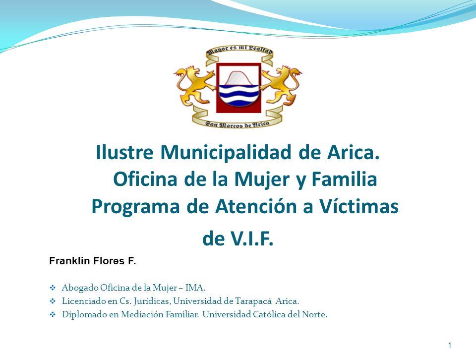 Ilustre Municipalidad de Arica. Oficina de la Mujer y Familia Programa de Atención a Víctimas de V.I.F. Franklin Flores F. Abogado Oficina de la Mujer
