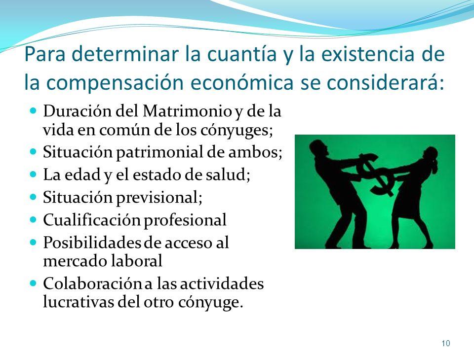Para determinar la cuantía y la existencia de la compensación económica se considerará: Duración del Matrimonio y de la vida en común de los cónyuges;