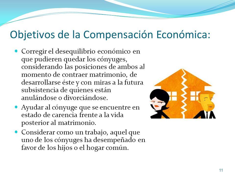 Objetivos de la Compensación Económica: Corregir el desequilibrio económico en que pudieren quedar los cónyuges, considerando las posiciones de ambos