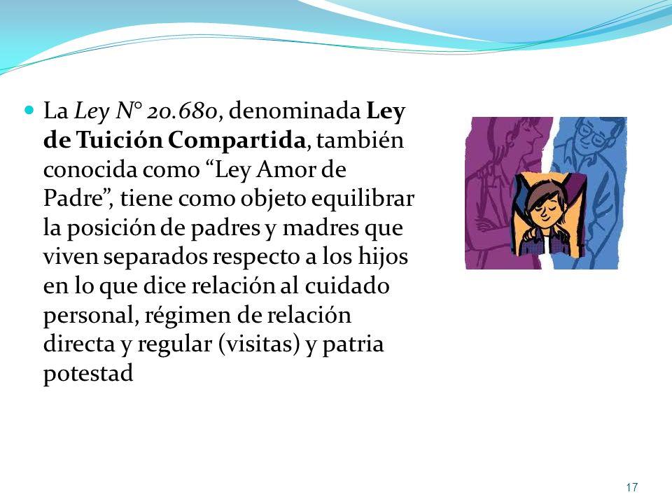 La Ley N° 20.680, denominada Ley de Tuición Compartida, también conocida como Ley Amor de Padre, tiene como objeto equilibrar la posición de padres y