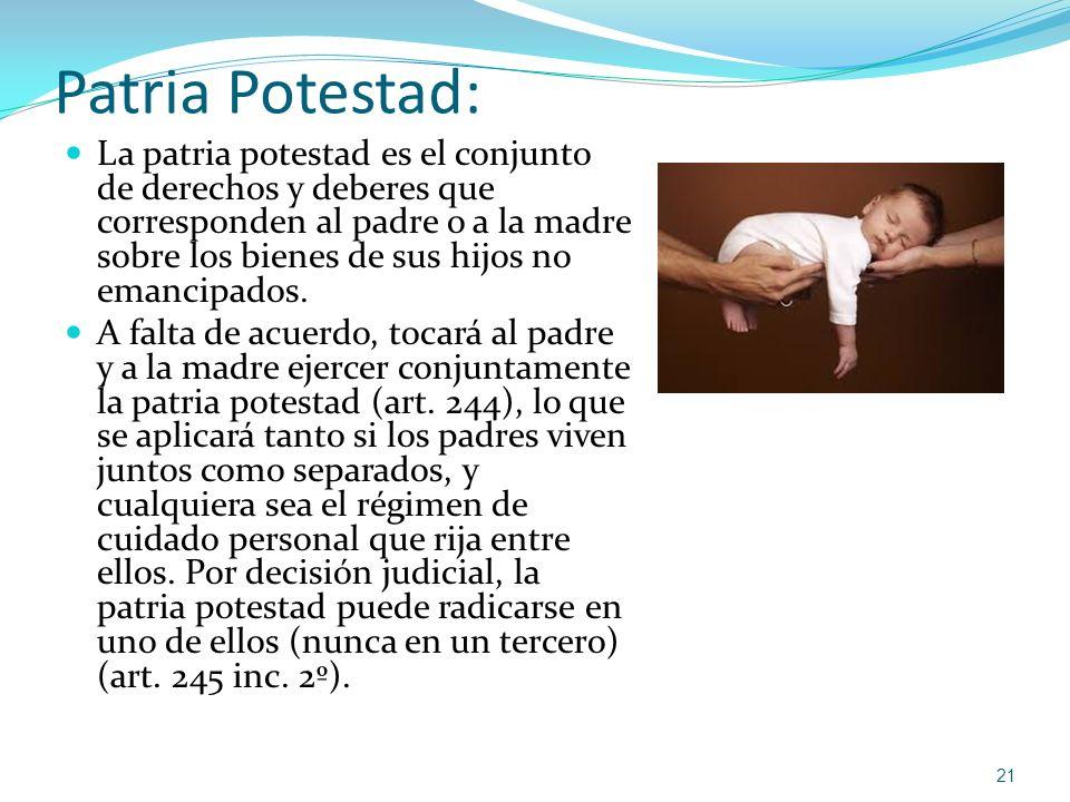 Patria Potestad: La patria potestad es el conjunto de derechos y deberes que corresponden al padre o a la madre sobre los bienes de sus hijos no emanc