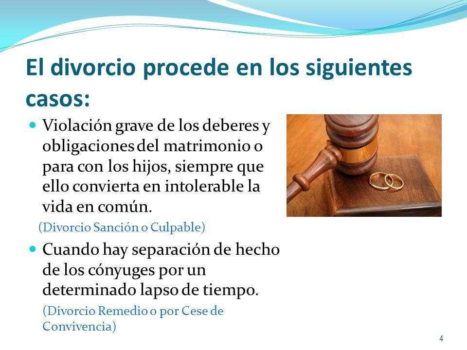 El divorcio procede en los siguientes casos: Violación grave de los deberes y obligaciones del matrimonio o para con los hijos, siempre que ello convi
