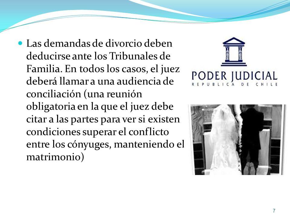 Las demandas de divorcio deben deducirse ante los Tribunales de Familia. En todos los casos, el juez deberá llamar a una audiencia de conciliación (un