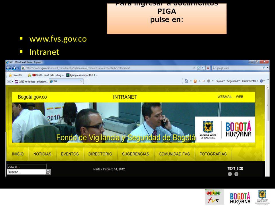 Para ingresar a documentos PIGA pulse en: www.fvs.gov.co Intranet