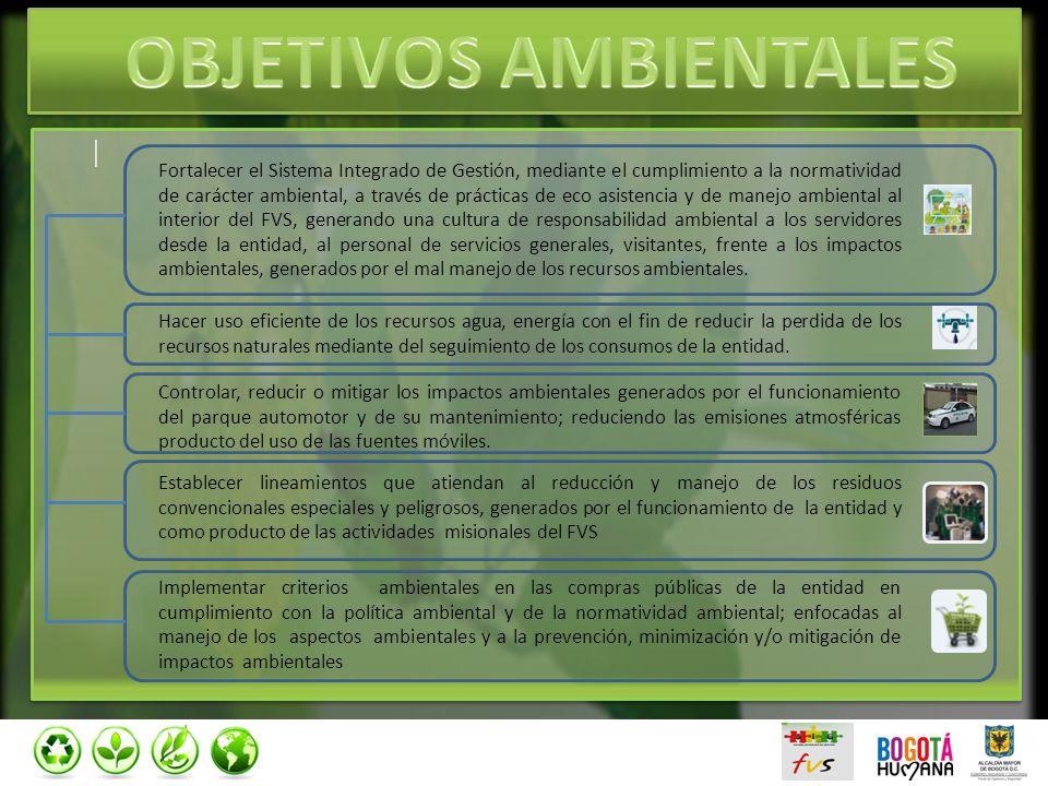 | | Fortalecer el Sistema Integrado de Gestión, mediante el cumplimiento a la normatividad de carácter ambiental, a través de prácticas de eco asisten