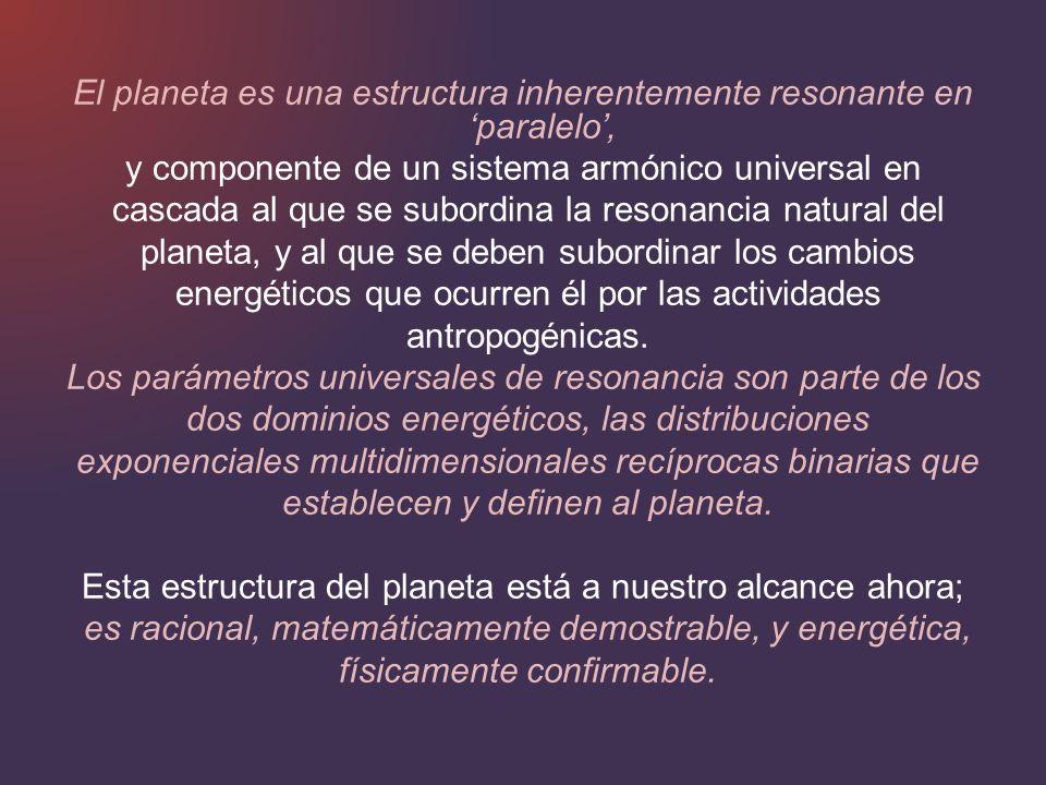 El planeta es una estructura inherentemente resonante en paralelo, y componente de un sistema armónico universal en cascada al que se subordina la res