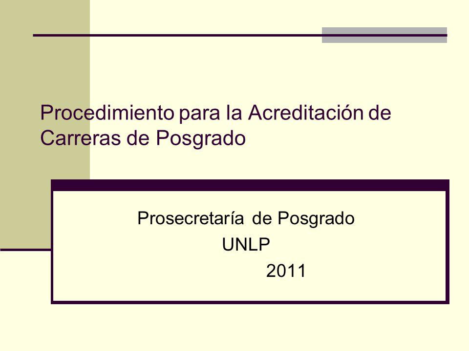 Procedimiento para la Acreditación de Carreras de Posgrado Prosecretaría de Posgrado UNLP 2011