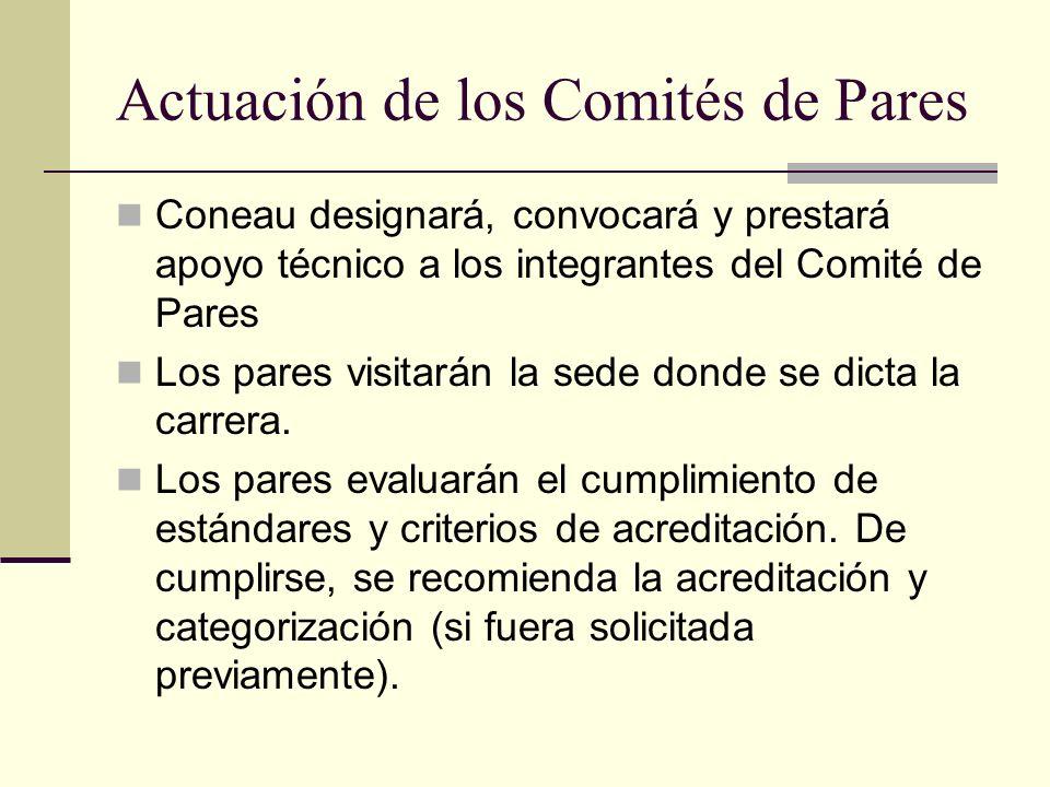 Actuación de los Comités de Pares Coneau designará, convocará y prestará apoyo técnico a los integrantes del Comité de Pares Los pares visitarán la sede donde se dicta la carrera.