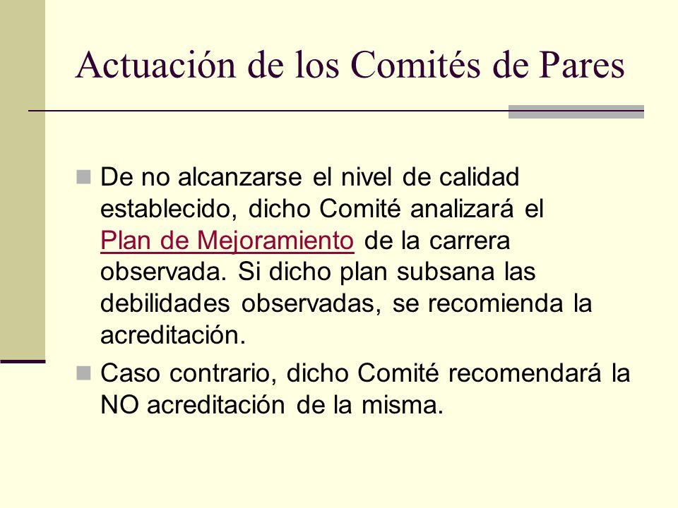 Actuación de los Comités de Pares De no alcanzarse el nivel de calidad establecido, dicho Comité analizará el Plan de Mejoramiento de la carrera observada.