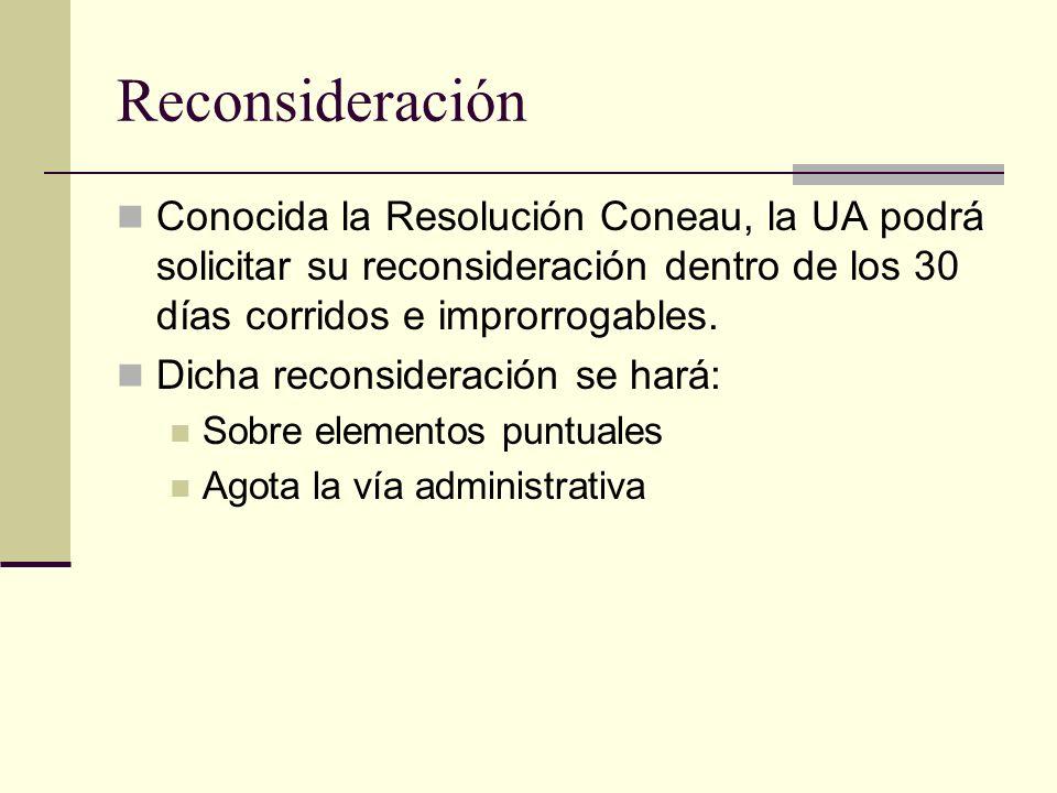 Reconsideración Conocida la Resolución Coneau, la UA podrá solicitar su reconsideración dentro de los 30 días corridos e improrrogables.