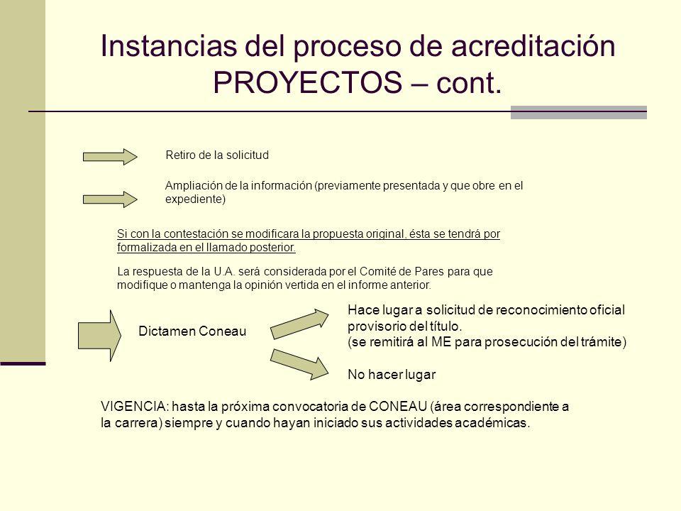 Instancias del proceso de acreditación PROYECTOS – cont.