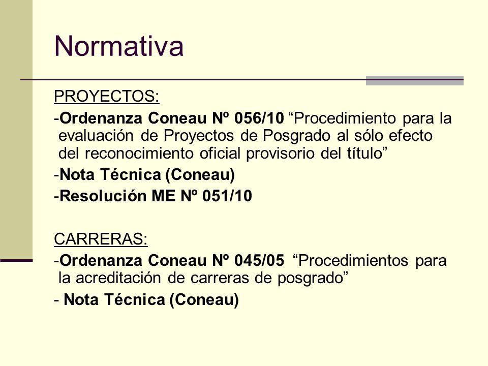 Normativa PROYECTOS: -Ordenanza Coneau Nº 056/10 Procedimiento para la evaluación de Proyectos de Posgrado al sólo efecto del reconocimiento oficial provisorio del título -Nota Técnica (Coneau) -Resolución ME Nº 051/10 CARRERAS: -Ordenanza Coneau Nº 045/05 Procedimientos para la acreditación de carreras de posgrado - Nota Técnica (Coneau)