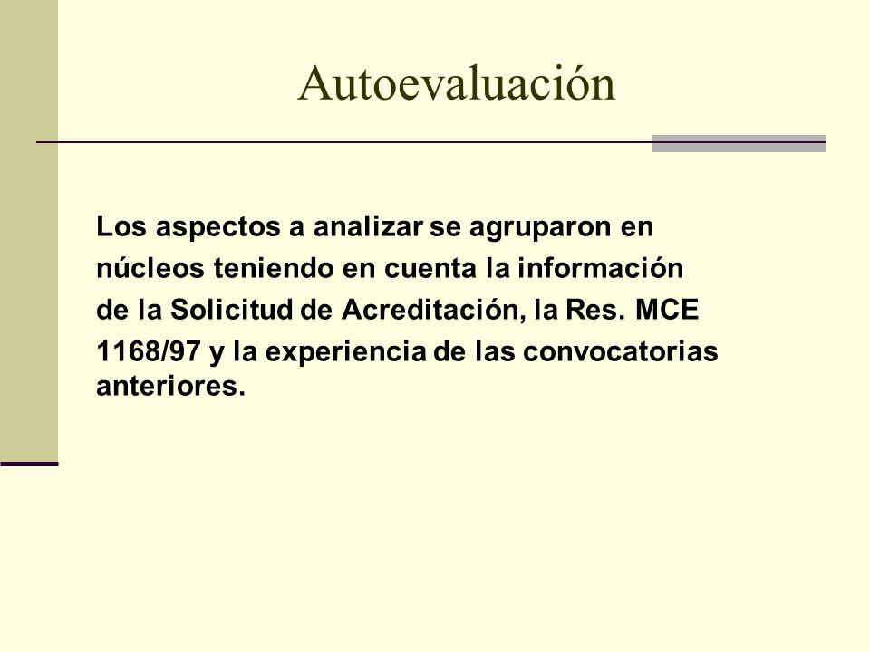 Autoevaluación Los aspectos a analizar se agruparon en núcleos teniendo en cuenta la información de la Solicitud de Acreditación, la Res.