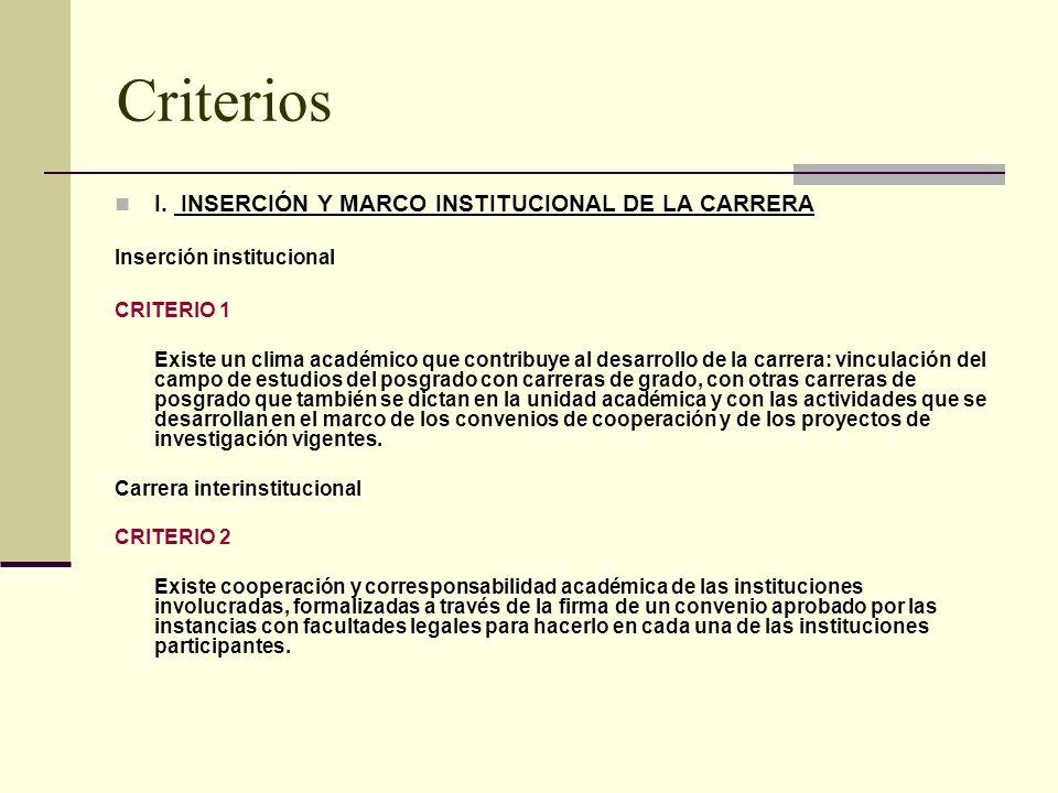 Criterios I.