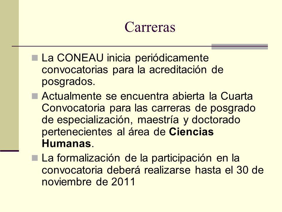 Carreras La CONEAU inicia periódicamente convocatorias para la acreditación de posgrados.