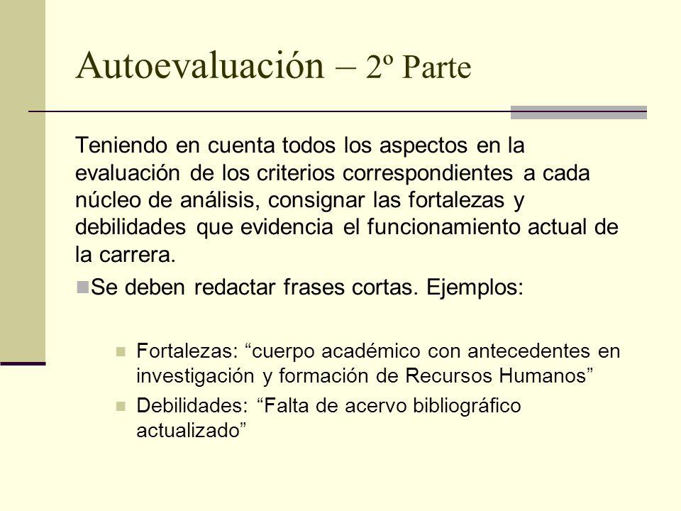 Autoevaluación – 2º Parte Teniendo en cuenta todos los aspectos en la evaluación de los criterios correspondientes a cada núcleo de análisis, consignar las fortalezas y debilidades que evidencia el funcionamiento actual de la carrera.