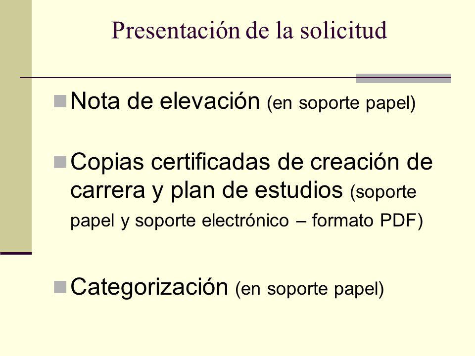 Presentación de la solicitud Nota de elevación (en soporte papel) Copias certificadas de creación de carrera y plan de estudios (soporte papel y soporte electrónico – formato PDF) Categorización (en soporte papel)