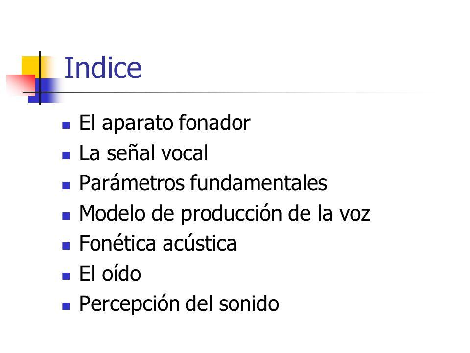 Indice El aparato fonador La señal vocal Parámetros fundamentales Modelo de producción de la voz Fonética acústica El oído Percepción del sonido