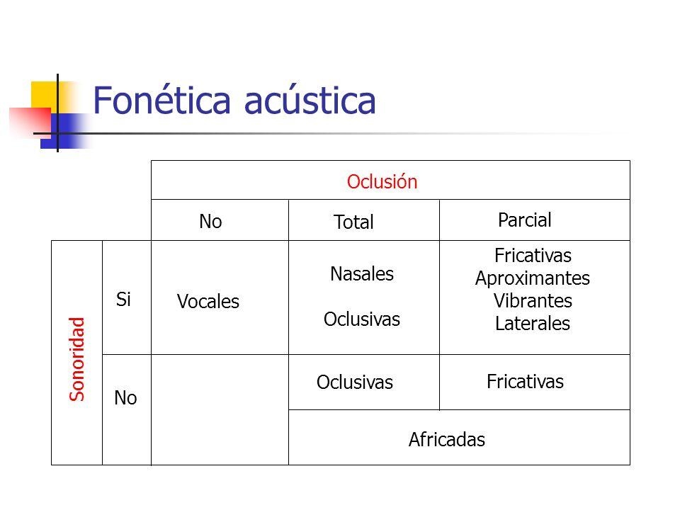 No Fonética acústica Fricativas Aproximantes Vibrantes Laterales Sonoridad Vocales Si Nasales Oclusivas Fricativas Africadas Oclusión No Total Parcial
