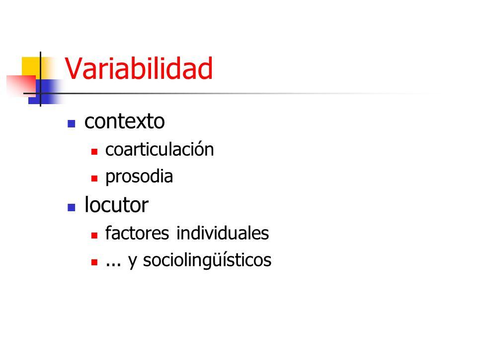 Variabilidad contexto coarticulación prosodia locutor factores individuales... y sociolingüísticos