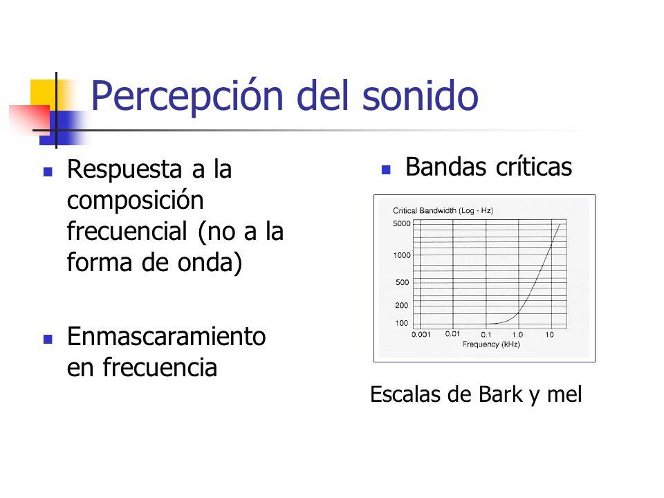 Percepción del sonido Respuesta a la composición frecuencial (no a la forma de onda) Enmascaramiento en frecuencia Bandas críticas Escalas de Bark y m