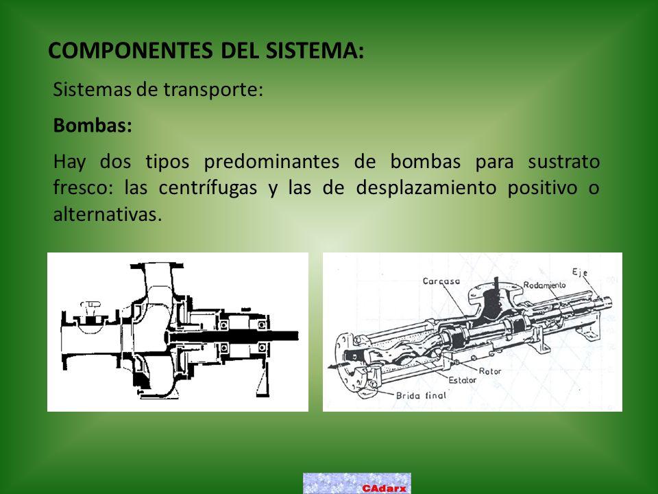 COMPONENTES DEL SISTEMA: Sistemas de transporte: Bombas: Hay dos tipos predominantes de bombas para sustrato fresco: las centrífugas y las de desplaza