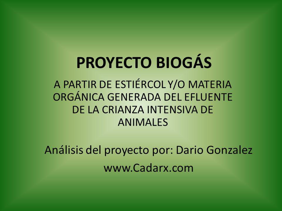 PROYECTO BIOGÁS A PARTIR DE ESTIÉRCOL Y/O MATERIA ORGÁNICA GENERADA DEL EFLUENTE DE LA CRIANZA INTENSIVA DE ANIMALES Análisis del proyecto por: Dario