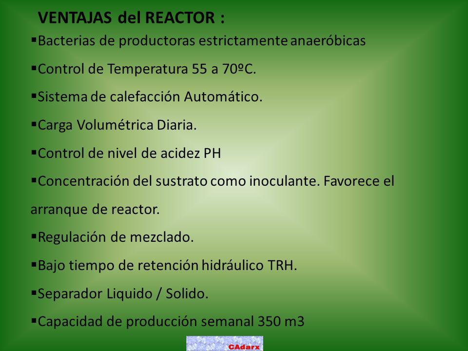 VENTAJAS del REACTOR : Bacterias de productoras estrictamente anaeróbicas Control de Temperatura 55 a 70ºC. Sistema de calefacción Automático. Carga V