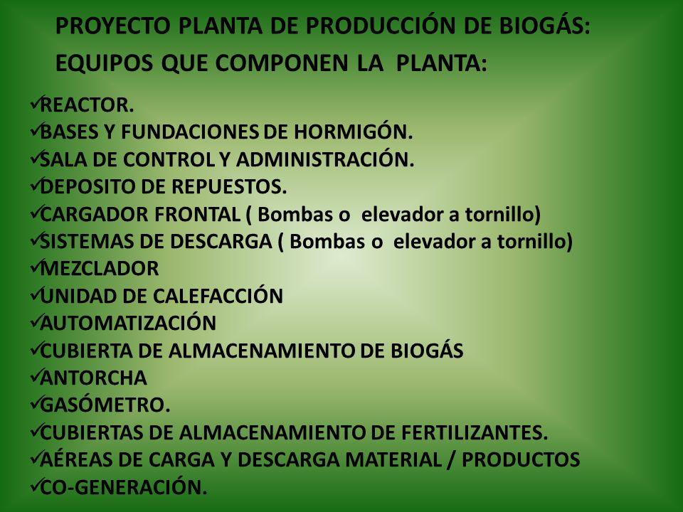 EQUIPOS QUE COMPONEN LA PLANTA: REACTOR. BASES Y FUNDACIONES DE HORMIGÓN. SALA DE CONTROL Y ADMINISTRACIÓN. DEPOSITO DE REPUESTOS. CARGADOR FRONTAL (