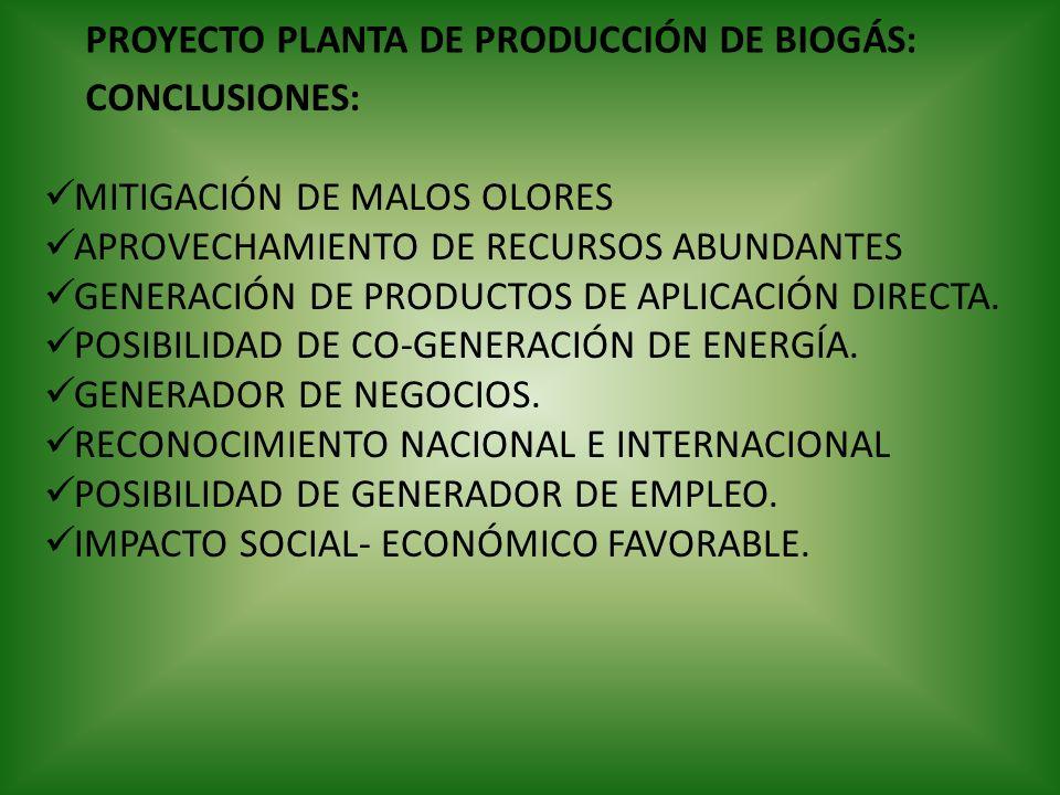 PROYECTO PLANTA DE PRODUCCIÓN DE BIOGÁS: CONCLUSIONES: MITIGACIÓN DE MALOS OLORES APROVECHAMIENTO DE RECURSOS ABUNDANTES GENERACIÓN DE PRODUCTOS DE AP