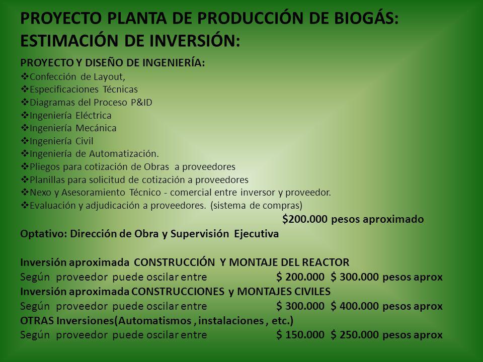 PROYECTO PLANTA DE PRODUCCIÓN DE BIOGÁS: ESTIMACIÓN DE INVERSIÓN: PROYECTO Y DISEÑO DE INGENIERÍA: Confección de Layout, Especificaciones Técnicas Dia