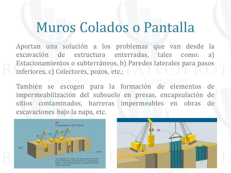 Aportan una solución a los problemas que van desde la excavación de estructura enterradas, tales como: a) Estacionamientos o subterráneos, b) Paredes