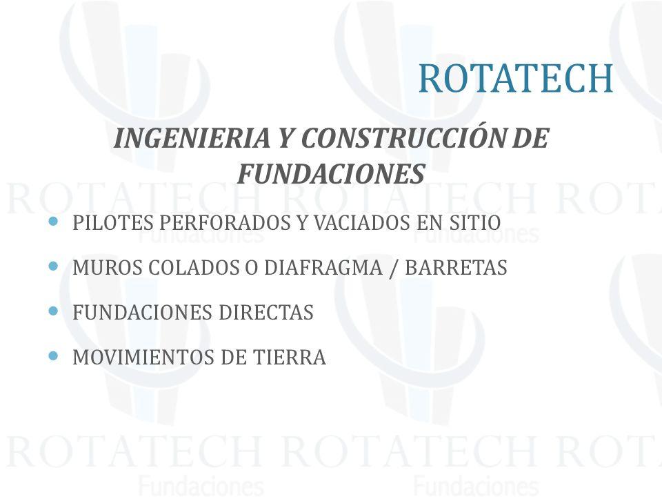 INGENIERIA Y CONSTRUCCIÓN DE FUNDACIONES PILOTES PERFORADOS Y VACIADOS EN SITIO MUROS COLADOS O DIAFRAGMA / BARRETAS FUNDACIONES DIRECTAS MOVIMIENTOS