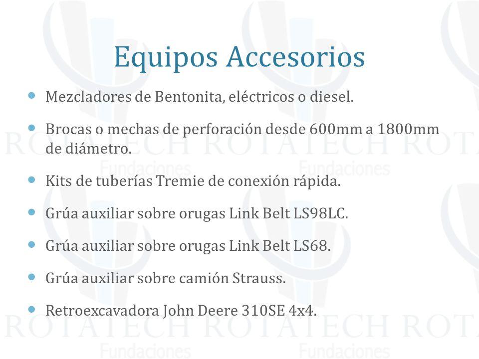 Equipos Accesorios Mezcladores de Bentonita, eléctricos o diesel. Brocas o mechas de perforación desde 600mm a 1800mm de diámetro. Kits de tuberías Tr