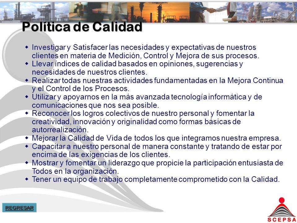 Política de Calidad Investigar y Satisfacer las necesidades y expectativas de nuestros clientes en materia de Medición, Control y Mejora de sus procesos.