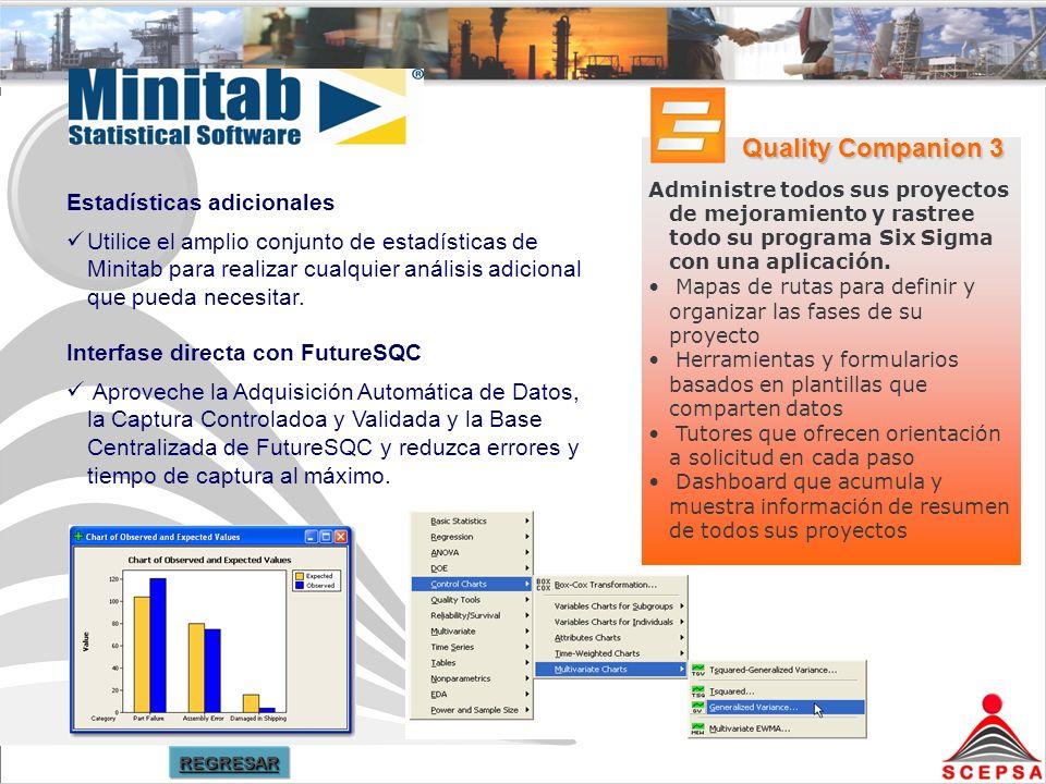 Estadísticas adicionales Utilice el amplio conjunto de estadísticas de Minitab para realizar cualquier análisis adicional que pueda necesitar.
