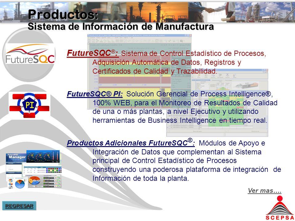 Productos : Sistema de Información de Manufactura FutureSQC ® : FutureSQC ® : Sistema de Control Estadístico de Procesos, Adquisición Automática de Datos, Registros y Certificados de Calidad y Trazabilidad.