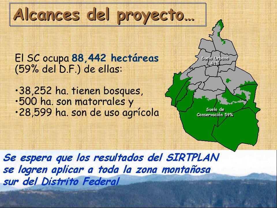 Alcances del proyecto… El SC ocupa 88,442 hectáreas (59% del D.F.) de ellas: 38,252 ha.