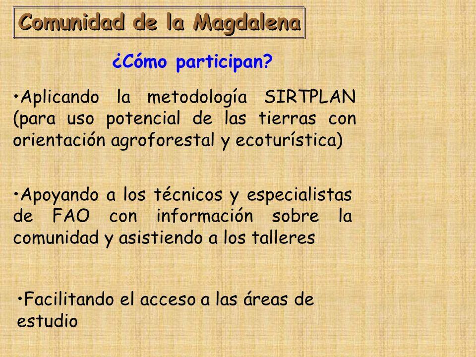 Comunidad de la Magdalena Aplicando la metodología SIRTPLAN (para uso potencial de las tierras con orientación agroforestal y ecoturística) ¿Cómo participan.